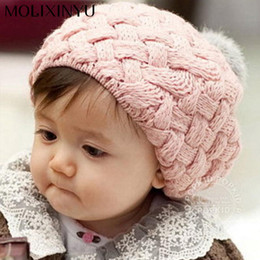 Wholesale Wholesale New Hats For Babies - 2017 New Baby Winter Hat Knit Crochet Baby Beret Girl Cap For Children Cotton Warm Cap Cute Warm Kid Beanie Unisex
