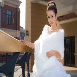 Wholesale Perfect Beige - In Stock Free Shipping Faux Fur Wedding Jacket Bridal Bolero Wedding Shawls Bridal Wraps Cape Cloaks Perfect For Weding Dresses
