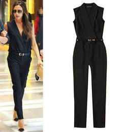 Wholesale Full Jump - Wholesale- 2017 New Summer woman casual basic solid Jumpsuit Trousers Leggings Siamese cat Suit Jump suit union suit sleeveless star style