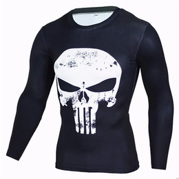 Wholesale Tight Black Clothes - Men's Long Sleeve Cycling Shirts Punisher Winter Soldier 3D Printing Speed Dry Tops Clothing Exercise Tights Breathable Sports T-Shirt S&4XL
