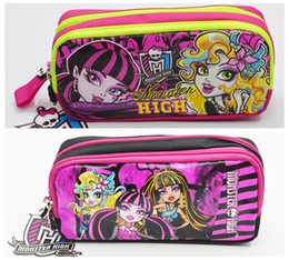Argentina Diseño de dibujos animados kawaii Zip doble Monster High School Doll School Bolso de lápiz Niños Estudiante Pen Case Stationery Box Regalo de la muchacha para niños Suministro