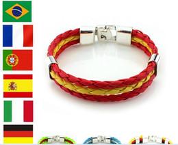 Wholesale Charm Brace - New hot sale national flags' colors' hand bracelet football fans' wristband brace lace with national flags' colors free shipping