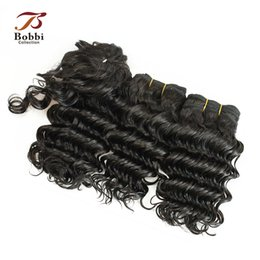 Wholesale Brazilian Hair Short Wave - 3pcs Deep Wave Virgin Hair Weave Brazilian Peruvian Indian Malaysian Human Hair Extensions Short Curly Hair Bob Style 55g pc