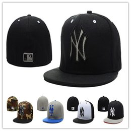 Wholesale Embroidered Baseball Caps Cheap - Cheap Yankees Fitted Caps Baseball Cap Embroidered Team NY Letter Size Flat Brim Hat Yankees Baseball Cap Size
