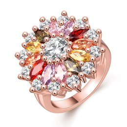 Wholesale Lucky Ring Red - On sale 2017 Best Sale Popular Gorgeous Flower Lucky shining Ring for Chic and Elegant Ladies as a Christmas Gift on Wholesale