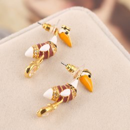 Wholesale Drop Shipping Name Brand - Top brand name and brass material enamel pelican and diamonds back drop stud in 3.5cm length women drop shipping wedding gift PS5710