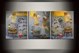 2019 pinturas da selva 3 Painel Home Decor Art Pintura Moderna Presente de Natal Fantasia Little Angel Pintura A Óleo HD Imagem Giclee Print Quarto de Parede Impresso em Tela