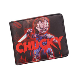Wholesale Dollar Bill Wallets - Vintage Wallet Hot Ghost Movie Wallet BRIDE OF CHUCKY Purse Small Leather Wallet For Movie fans Dollar Bill Holder Purse Bifold High Quality