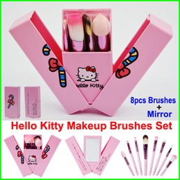 Wholesale Pink Tool Case - Hello Kitty Makeup Brushes Set + Mirror Case eyeshadow blush Brush Kit Pink Make up Toiletry Beauty Appliances 8pcs set kids Cosmetic tools