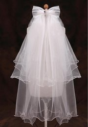 Wholesale Ivory Layer Veil - In Stock White Short Flower Girl Veils With Bow Satin Edge Kids Children Bridal Veils Voile De Mariee Head Veils
