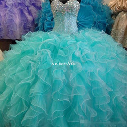 Wholesale Turquoise Beaded Gowns - Hot 2016 Turquoise Blue Quinceanera Dress Ball Gown Sweetheart With Beaded Backless Cheap Girls 15 Years Quinceanera Gowns Sweet 16 Dresses