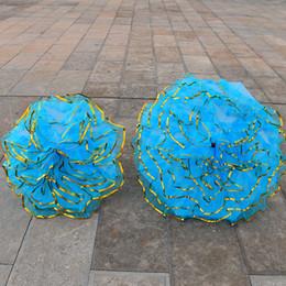 radio de baile Rebajas 100 cm 80 cm Diámetro Rendimiento Danza Peonía Mano Flor Paraguas Golden Edge Craft Stage Show Props Suministros ZA4460