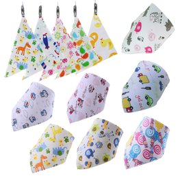 Wholesale Baby Triangle Bibs - PrettyBaby snap fasteners baby feeding triangle bibs cotton infant bibs Animal Print baby bandana bibs free shipping