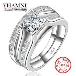 Wholesale Ct Set - YHAMNI Fine Jewelry Women Engagement Ring Have S925 Logo Real Silver Ring Set Luxury 1 ct Diamond Wedding Rings Wholesale MR148