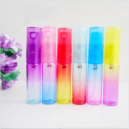 Wholesale Travel Size Refillable Bottles - 5ML Gradient Color Mini Perfume Pump Atomizer Refillable Fine Mist Colorful Glass Spray Empty Bottle 5Gram Travel Size
