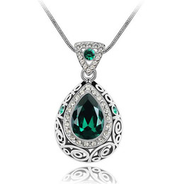 Wholesale Water Singapore - High Quality Crystal Water Drop Pendant Necklace For Women Fashion 18KRGP Jewelry Made with Swarovski Elements 2473