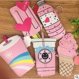 Wholesale Ice Cream Hearts - Cartoon mini Wallets packsack coin holder keychains pu leather ice cream Beverage bottle Wallets Keychains 5 styles