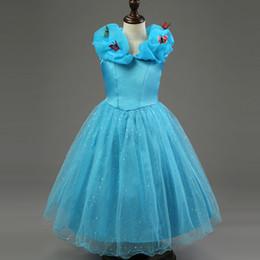 Wholesale Deluxe Costume For Kids - 2016 Movie Cinderella Deluxe Dress Baby Girls Princess Cosplay Costume Party Dress Girls Dress Cinderella Costume For Kids
