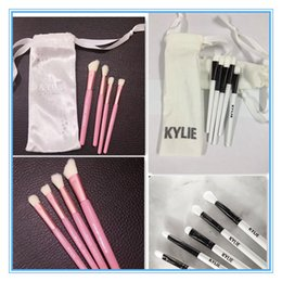 Wholesale White Collection Wholesale - FREE DHL New Kylie Jenner Cosmetics 4pcs 5pcs Pink Brush Set I WANT IT ALL 20th Birthday Collection holiday Limited Edition Makeup brushes