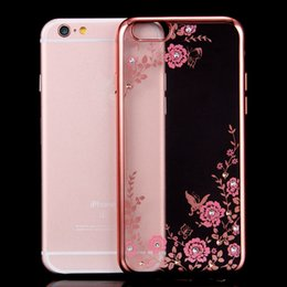 Wholesale Iphone Flower Bling - Soft Clear TPU Bling Diamond Shining Plating Flowers Cases Cover For iPhone 7,7 Plus,6,6s