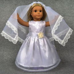 Wholesale Doll Wedding Dresses American Girl - Fashion Multiple Styles 18 inch American Girl Doll Clothes of White Color Wedding Dress Pearl Necklace Wedding Set