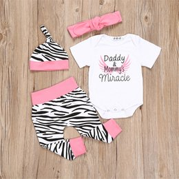 Wholesale Kids Leopard Print Pants - INS Baby Girls Leopard Pants+Romper+Hats+Bow Headband Printed Letter Onesies Kids Boutique 4Pcs Sets Toddler Cute Bodysuit