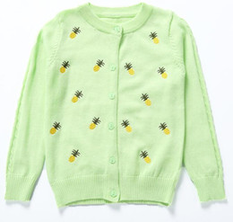 Wholesale Machine Embroidery Clothes - Yellow Pineapple Sweater Children Cardigan with Floral Buttons Easy Match Clothes Supply 5 Colors Exquisite Embroidery