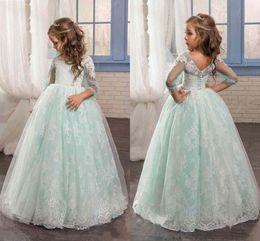 Wholesale Mint Color Long Sleeve Dresses - New Cute Mint Sage Floral Lace 2017 Flower Girl Dresses Long Sleeves Beaded Child Dresses Beautiful Long Flower Girls Wedding Party Dresses