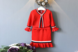 Wholesale Knitted Long Skirt - Children Clothing Kids Knitting Suit Girl Top+Skirt 2pcs Girl Spring Autumn Clothes Suit 5 s l