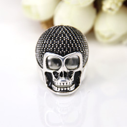 Wholesale Skull Rings 925 Silver - Thomas Skull With Black Rhinestone Ring, 925 Silver European Rebel Heart Style Jewelry for Women and Men TS R764
