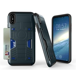 Wholesale Hard Plastic Id Case - Hard Back Case Cover with ID Credit Card Slot Holder for Apple iphone X 10 8 7 6 6S Plus Dual Layer Shock Absorption Tough Protective Shell