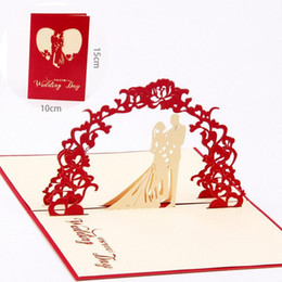 Wholesale Graduation Envelope Seals - New Red Unique Design 3D Bride Groom Wedding Invitation Cards With Envelopes Seals 10pcs lot free shipping