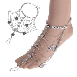 Wholesale Ethnic Sandals - 10Pcs Lot Wholesale Ethnic Multilayers Foot Jewelry Anklets Beach Barefoot Sandals Toe Rings Anklet Women Fashion Anklet Ring