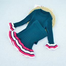 Wholesale Knitted Skirts Wholesale - Autumn Winter Babies Knit Striped Sets Baby Girls Knitting Pullover with Ruffles Skirts 2017 Childrens Fashion Outfits