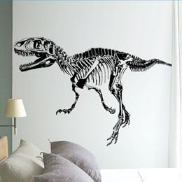 Wholesale Diy Adornment Sticker - Black T Rex Dinosaur Skeleton Wall Stick, DIY Wall Stickers Living Room Bedroom Adornment For Kids Boy Room HOME Decor