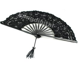 Wholesale Handmade Fans For Party - Wholesale- A96 1PC black Color Handmade Cotton Lace Folding Hand Fan For Party Bridal Wedding Decor