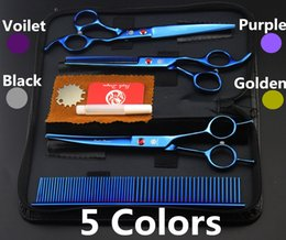 "Wholesale Clipper Settings - #683 7"" High Quality Blue Pet Grooming Hair Scissors Set,Cat Dog Fur Clipper Shears,1 Straight + 1 curved + 1 Thinning + 1 Comb"