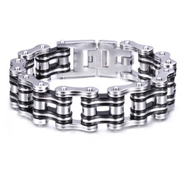 Wholesale Gothic Mens Stainless Steel Bracelets - 2016 Newest Stainless Steel Biker Motorcycle chain Gothic Mens Father's Day Gift Bracelet Silver Black Huge Heavy Fine Gift