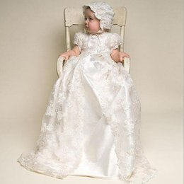 Wholesale Top Hats For Baby Girls - Baby Infant Christening Gowns With Hat Top Quality Pearl Accessories Birthday Lace Long Dress Elegant Dress For Newborn Baby Girls