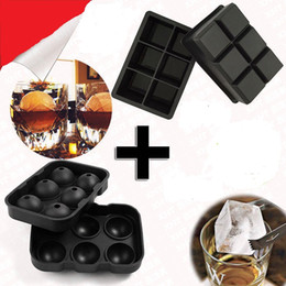 Wholesale Silicone Ice Cube Trays Wholesale - New Design 6 Hole Ice Cube Ball Drinking Wine Tray Brick Round Maker Mold Sphere Mould Party Bar Silicone Ice Hockey Maker
