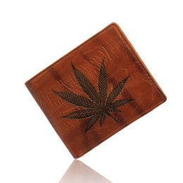 Wholesale Geometric Printed - Ultra Thin Vintage Maple Leaf Men Wallets Fashion Small Leather Wallet Hot Sale Dollar Purse Designer Short Card Holder