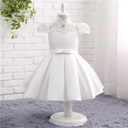 Wholesale Girl Clothes For Cheap - Lace High Neck Vintage Flower Girl Dresses Elegant Satin Princess Cap Sleeves Baby girl clothes Flower Girl Dresses For Wedding Cheap