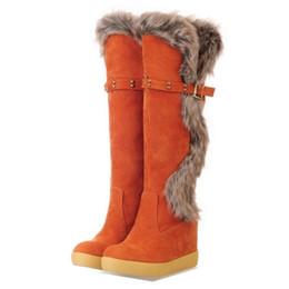 Wholesale Winter Hidden Wedges Shoes - Wholesale- New Arrivals Fashion Women Knee Boots Faux Rabbit Fur Upper Shoes Hidden Wedges Round Toe Platform Shoes Woman Winter Boots
