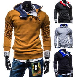 Novos padrões botões on-line-Wholesale-Hoodies Mens Real Full Hoodie Chandal Hombre 2016 New Pattern Men Hoody Metal Buckle Buttons Placket Thickening Man's