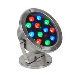 Wholesale Garden Lighted Fountains - 12W IP68 underwater Pool led Lights RGB colorful fountain lights swimming pool decoration lamp AC 12V 24V garden pond lighting