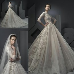 Wholesale Ersa Atelier Wedding Dresses - High Neck Long Sleeves Beaded Lace Muslim Church Wedding Dresses 2018 Ersa Atelier Chapel Train Full Back Garden Plus Size Bridal Gown