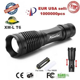 Wholesale Led Torch Tactical Usa - USA EU Hot Sel E007 CREE XM-L T6 2000Lumens 5 Mode cree led Torch Zoom LED Flashlight Torch For 3xAAA or 1x18650 - Free shipping