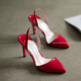 Wholesale Patent Lighter - 2016 han edition pointed high with fine with baotou small yards red sandals 31 32 33 wedding shoes lighter for women's shoes