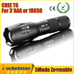 Wholesale Cree Xml Battery - High Power CREE XML-T6 5 Modes 3800 Lumens LED Flashlight Waterproof Zoomable Torch lights for 3xAAA or 1x18650 battery