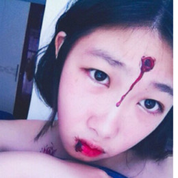 Wholesale Zombie Scars - Halloween Zombie Scar Stitch Temporary Scar Bleeding Wounds Tattoo Body Stickers